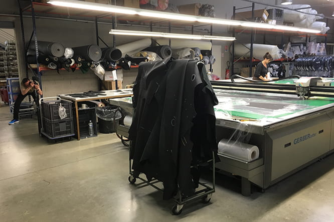 The Taurus machine automatically cutting the parts for a jacket