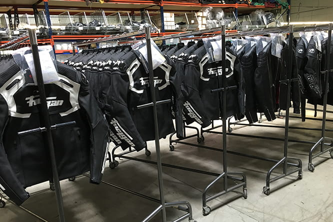 Rows of finished jackets ready for distribution