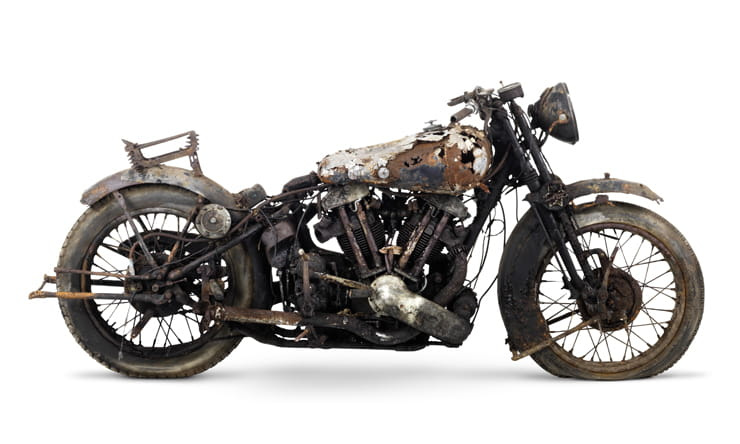 A Brough Superior as found in a barn on Bodmin Moor