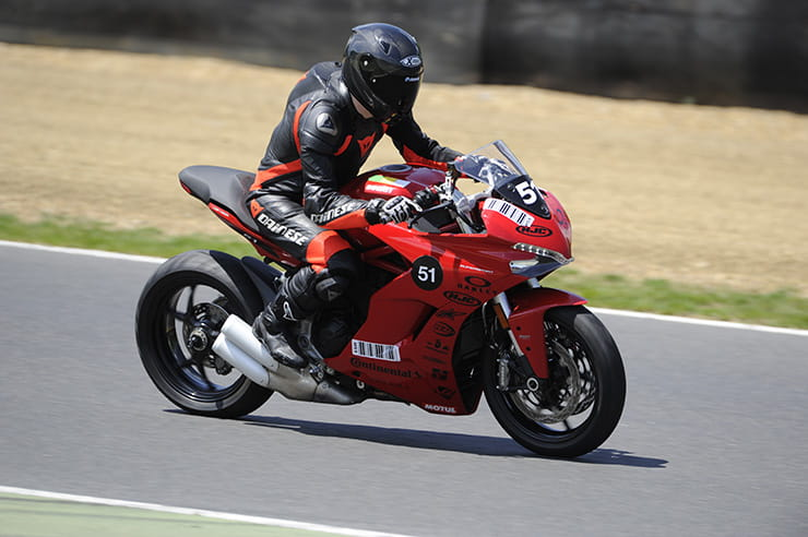 Chris Newble rides a Ducati Supersport at the California Superbike School