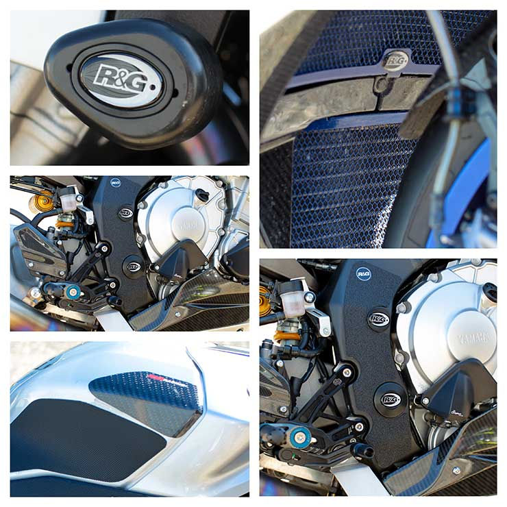 Yamaha R1M , R&G Tank Sliders, Boot Guard, Radiator and oil cooler grill protection