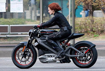 Black Widow on Harley-Davidson