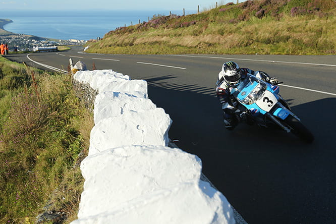 Michael Dunlop during his 123mph lap on the Team Classic Suzuki