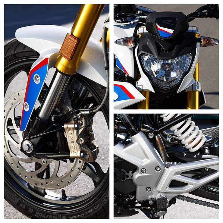 Brakes, forks, headlight and monoshock detail