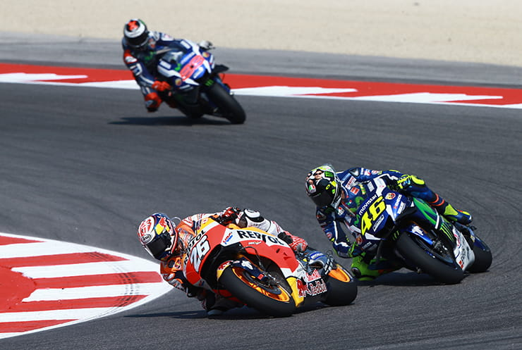 Pedrosa leads Rossi and Lorenzo
