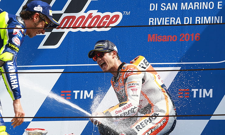 Pedrosa and Rossi on the Misano podium