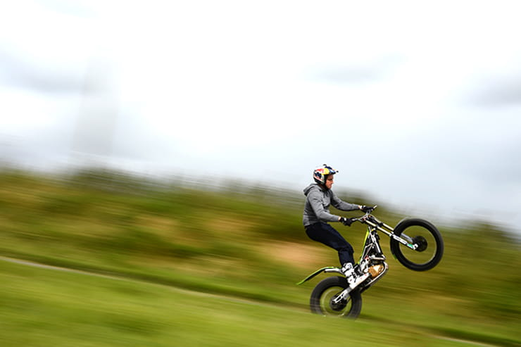Dougie Lampkin gets some practice in ahead of his world record attempt