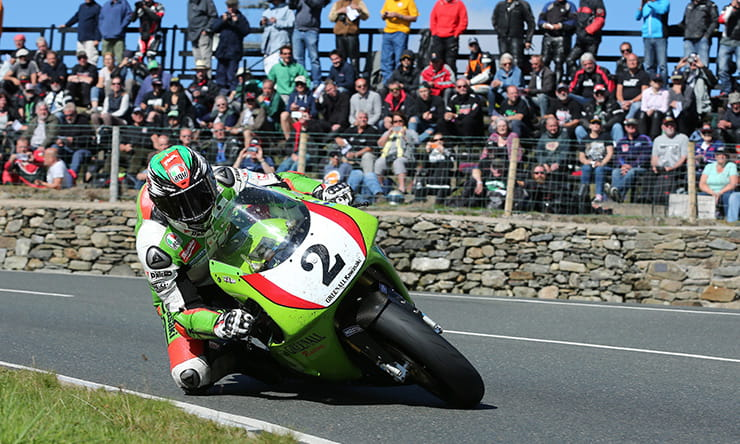 James Hillier on the soon-to-be disqualified Kawasaki 750
