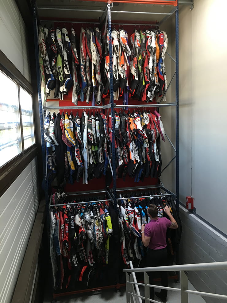 A mini archive containing race suits from some of the biggest names