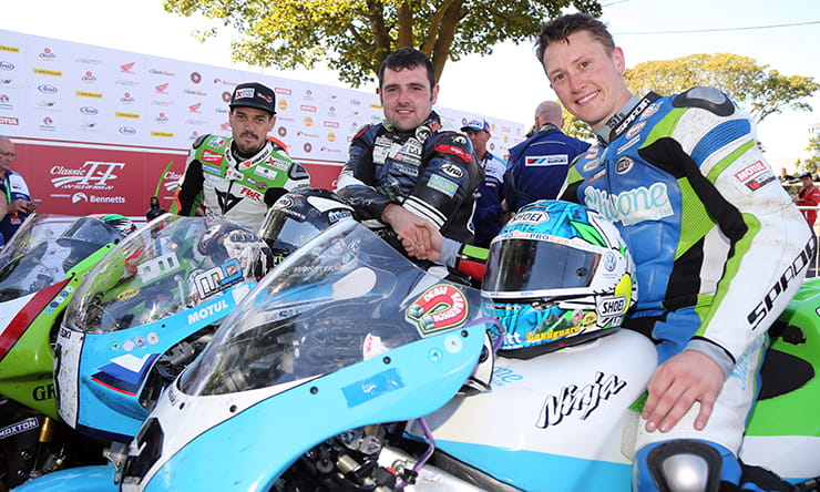 (l-r) Hillier, Dunlop and Harrison, the top 3 finishers in Superbike Classic TT, all under 33. Harrison and Hillier were later disqualified.