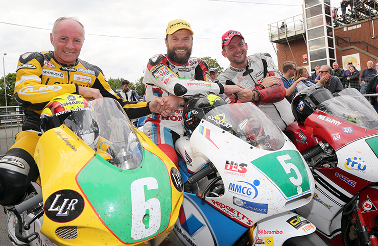 (l-r) Lougher, Anstey and Harvey in parc ferme