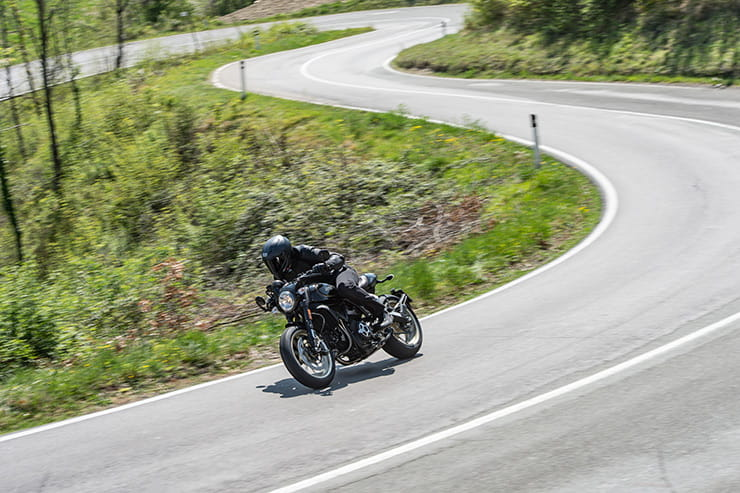 On the curvy Bologna roads, the Ducati Cafe Racer shone