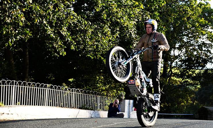 Dougie Lampkin laps the TT course - on one wheel!