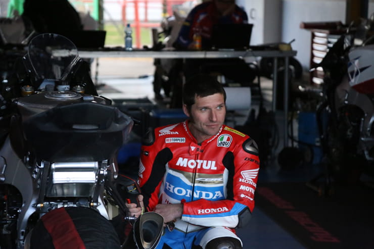 Guy Martin at Castle Combe this week for the Dunlop TT tyre test