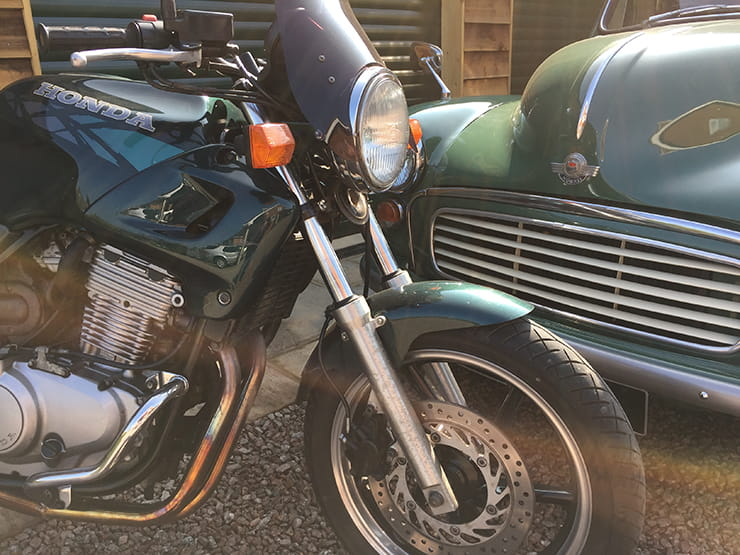 Honda CB500 and Morris Minor van