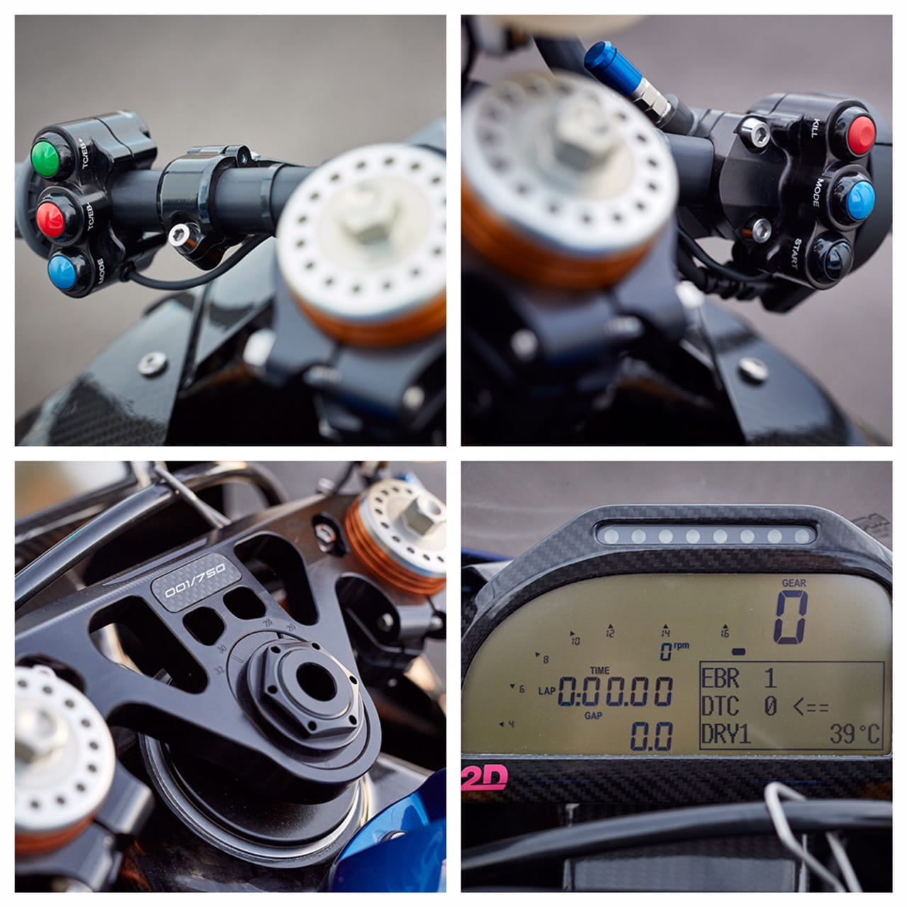 BMW HP4 RACE dashboard and handlebar detail