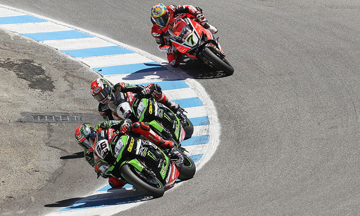 Sykes, Rea and Davies negotiate the famous Laguna Seca Corkscrew