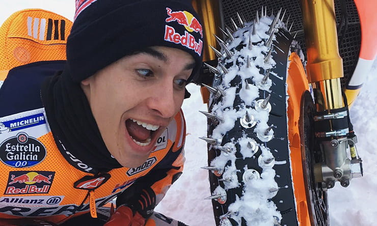 Marc Marquez chooses Michelins lesser-known spiked options for his run up the mountain