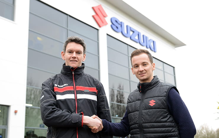 Rob Cooper, Marketing Manager for Suzuki GB with Richard Cooper, new Bennetts Suzuki British Superstock rider