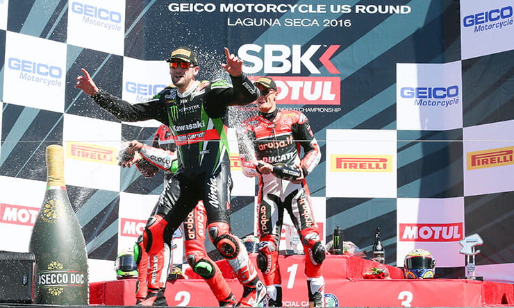 Tom Sykes and Chaz Davies atop the world superbike podium