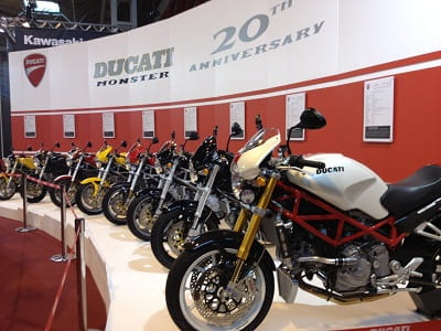 Ducati's display celebrating 20 years of the iconic Monster