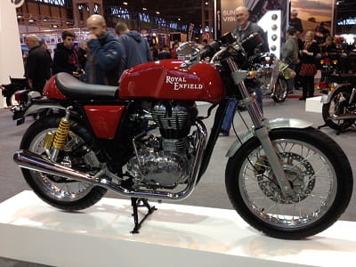 Cafe Racers are big news at Motorcycle Live 2013, this is Royal Enfield's new Cafe Racer. New motor too.
