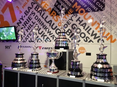 Isle of Man TT trophies are worth more than most of the bikes in the show, white gloves only please...