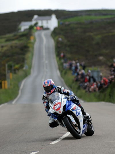 Josh Brookes at the Isle of Man TT on a parade lap