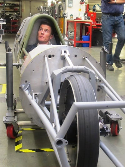 Exclusive picture shows Toseland trying the streamliner for size this week
