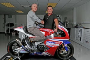 Bird and Laverty on one of the PBM CRT bikes