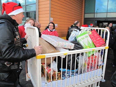 Rutland HOGs member pushes just some of the toys into the children's ward