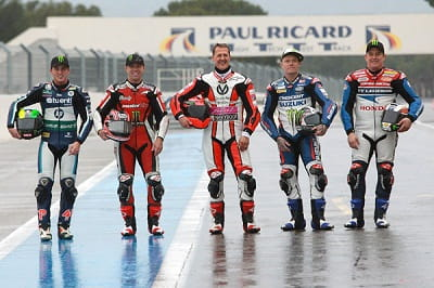 Legends one and all, young and old. L to R: Espargaro, Mamola, Shumacher, Flint and McGuinness