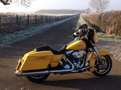 Harley's Street Glide, on a road more like a farm track, in December!