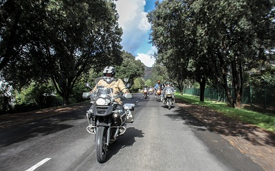 Charley Boorman on the last leg of his trip, seen here with a mass rideout into Cape Town!