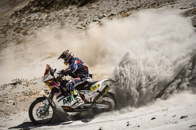 The USA's Kurt Caselli gets busy in the mountains on Stage 5 of the Dakar Rally