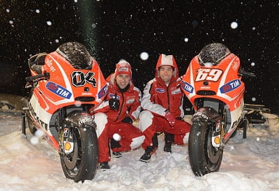 Dovi and Hayden at the snowbound Ducati MotoGP launch yesterday