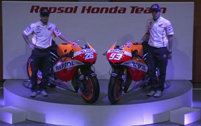Pedrosa and Marquez at the official Repsol Honda MotoGP team launch today