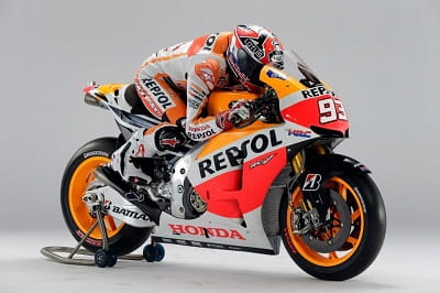 Marquez on his new 2013 Repsol Honda in its new colour scheme. Get used to seeing this bike alot in 2013