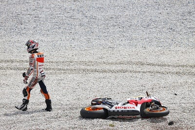 Marquez finally found the limit of his Repsol Honda MotoGP bike when he lost the front under braking