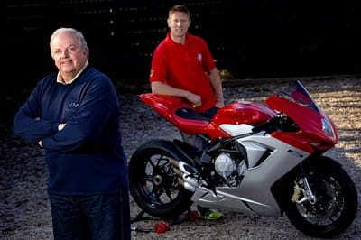 Legendary team boss Jack Valentine and TT hero Gary Johnson with an MV Agusta F3 similar to the one they'll race at the TT