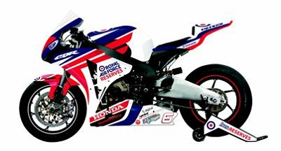 The Honda CBR1000RR in RAF Reserves colours that Andrews will race in British Superstock this year