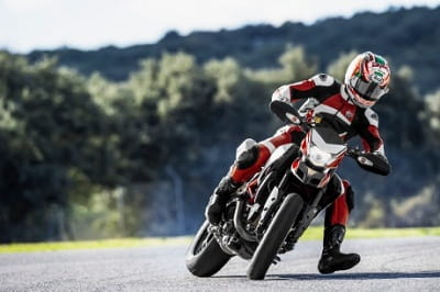 Hayden demonstrates what the new Hypermotard SP can do, if you're a MotoGP god...