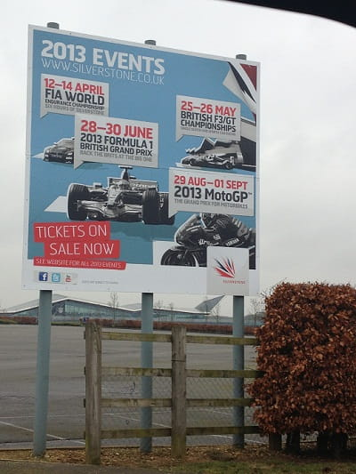 Sign outside Silverstone fails to mention World Superbikes this year, suggesting that a decision on the race's future has already been decided.