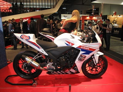 Honda's CBR500R race bike as seen at the Milan Show. The bike McGuinness will ride needs a bit more power to compete wth the Kawasaki's, even with JM on board.