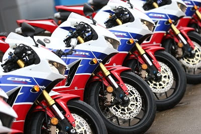 A fleet of 2013 Honda CBR's at the bike's world (UK) launch