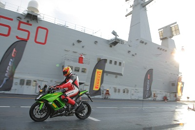 Pirelli's tyre being pushed to its wet braking limits. On a war ship. Have we mentioned the war ship?
