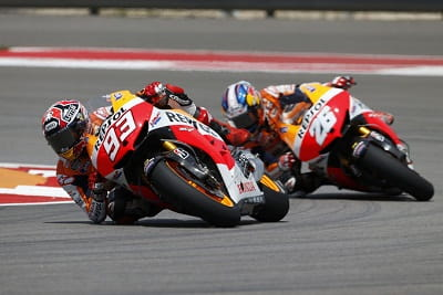 Get used to seeing this a lot in the future. MotoGP rookie Marquez leads Repsol Honda team mate Dani Pedrosa