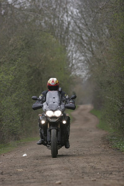 Triumph's Explorer 1200XC tackles a gentle trail with Bike Social's Marc Potter