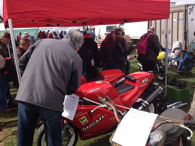 Hidden outside in the autojumble were dozens of gems for sale, like this Ducati 851