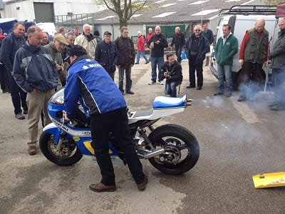 Classic Suzuki 500GP bike was revved-up regularly, much to the delight of Bike Social's Marc Potter who likes nothing better than a lung full of two-stroke on a Saturday morning.